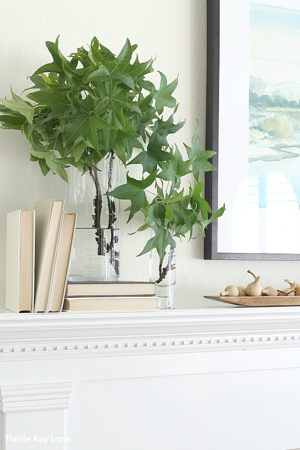 Green branches in clear glass vases with books. Simple Fall Mantel With Gourds And Greenery