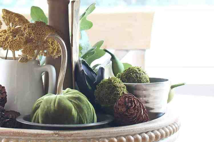 Fall Tiered Tray With Greens And Browns