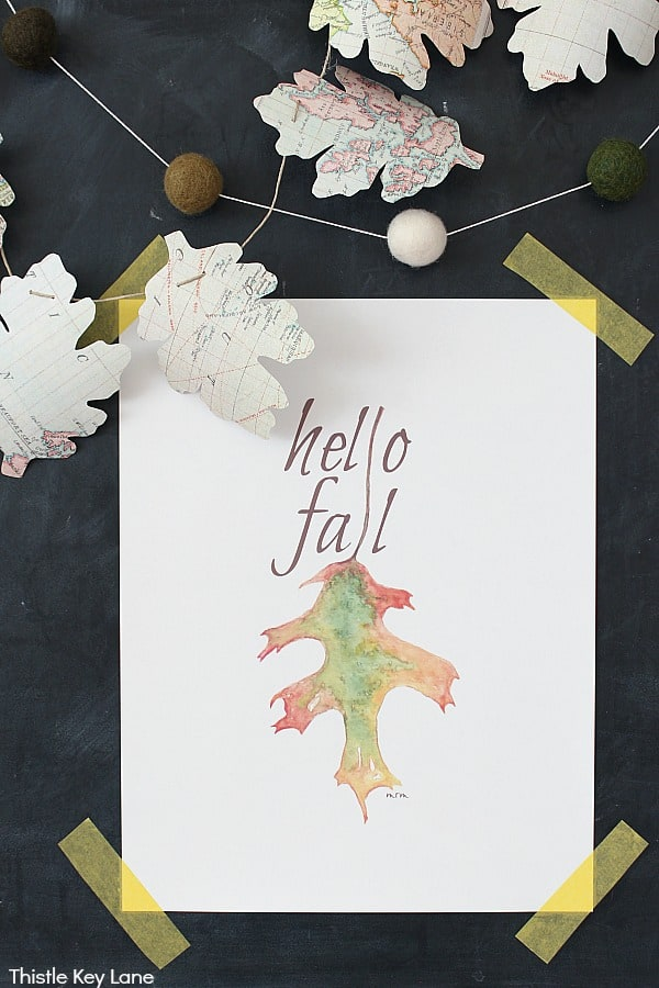 Hello Fall Leaf Watercolor Print - DIY Map Leaf Garland And Fall Printables