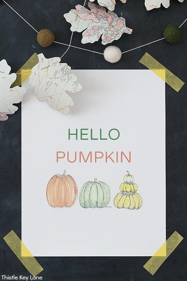 Hello Pumpkin Watercolor Print - DIY Map Leaf Garland And Fall Printables