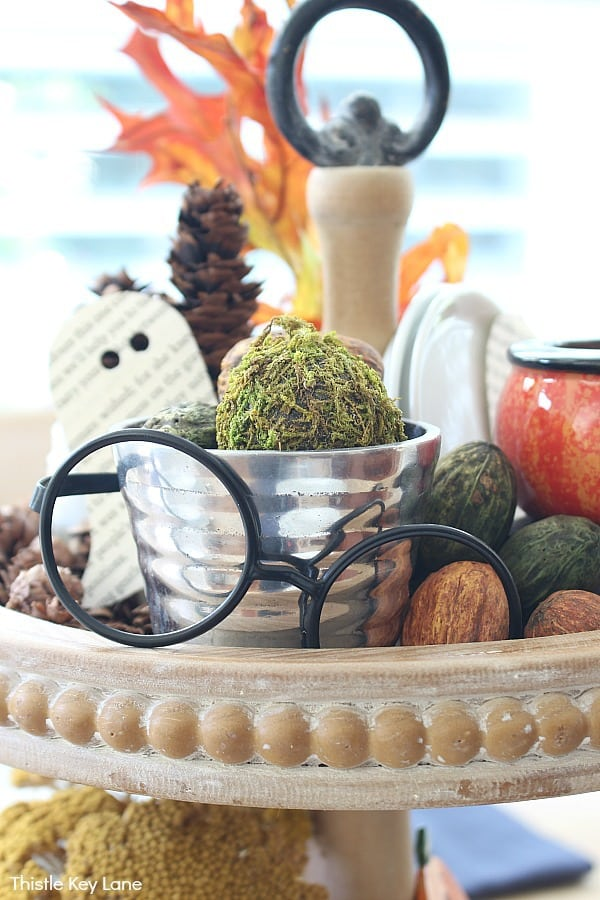 Black Rimmed Glasses Mixed Into A Halloween Centerpiece