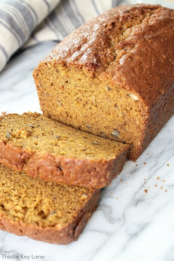 Close up slices of pumpkin bread.