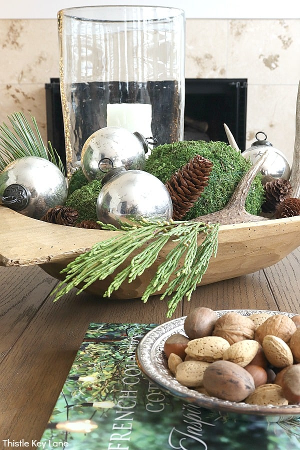 Wooden Dough Bowl With Mercury Glass And Natural Greenery - Christmas In The Kitchen And Family Room.