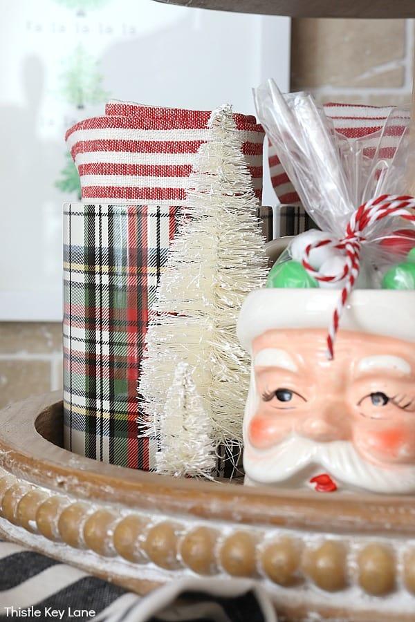 Vintage Santa and plaid mugs.