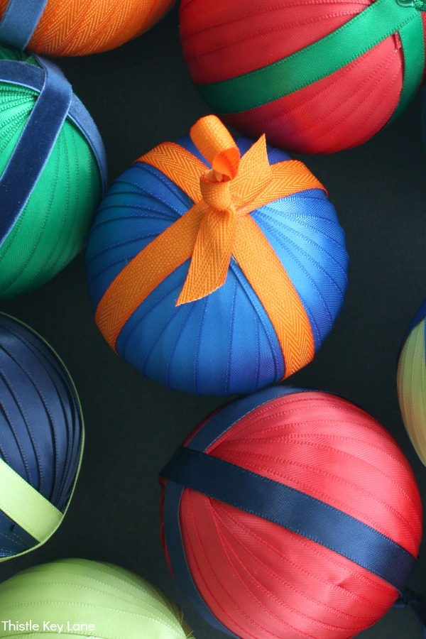Satin Ornament Balls In Bright Colors - How To Make Ribbon And Ticking Christmas Ornaments.