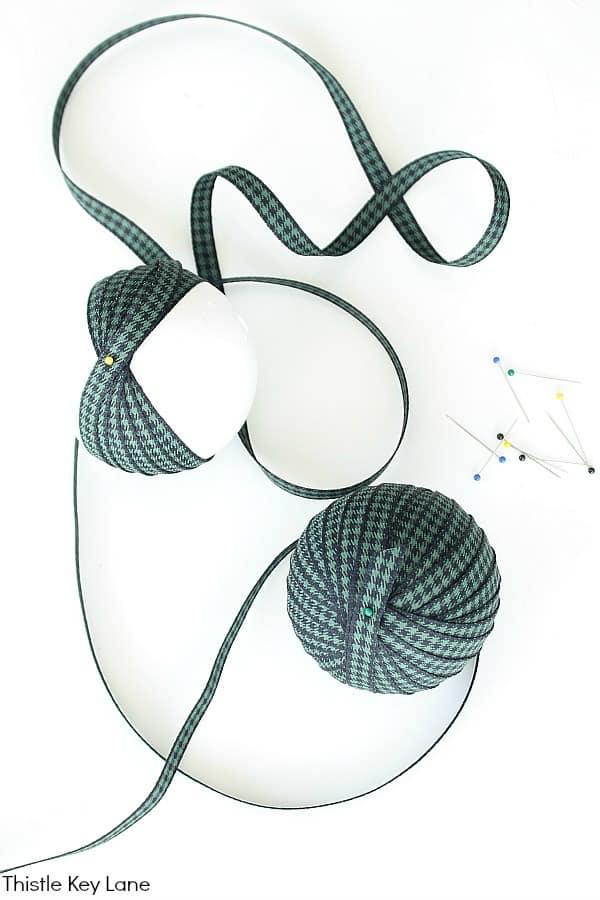 Ribbon, Styrofoam Balls And Ribbon For Ornaments.