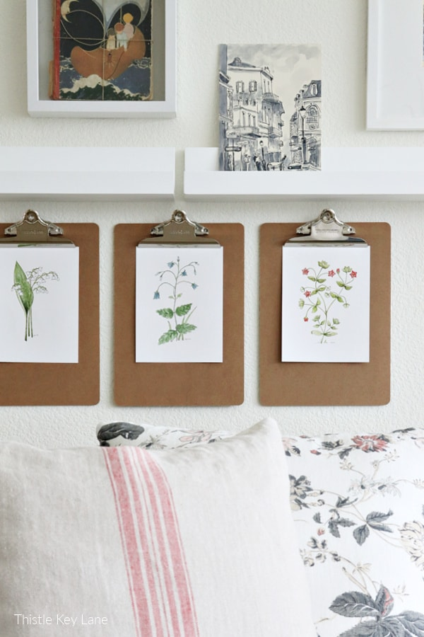 Gallery wall with botanical watercolors.
