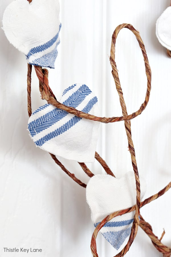 Grain sack stripe hearts on a wire wreath. DIY French Country Style Heart Wreath
