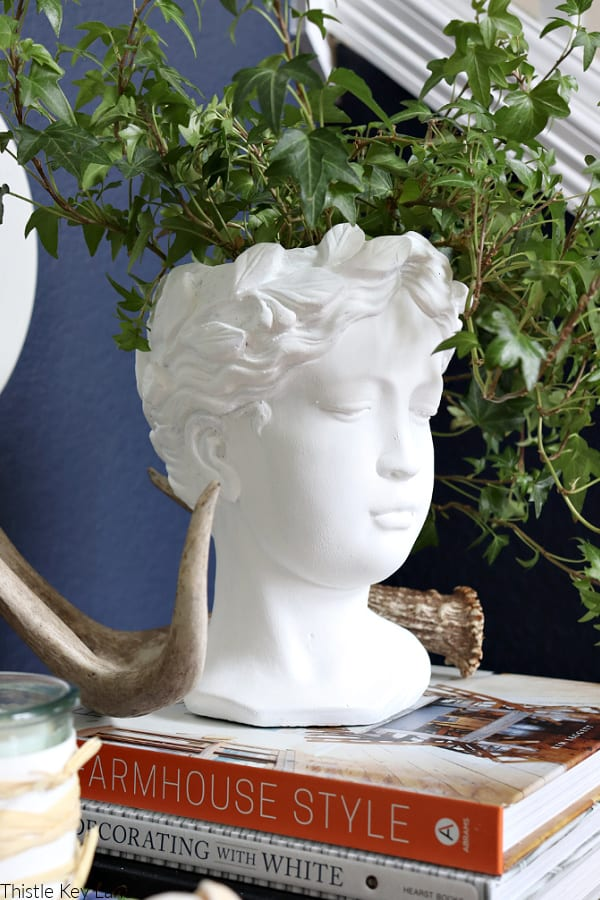 Goddess head planter with ivy.