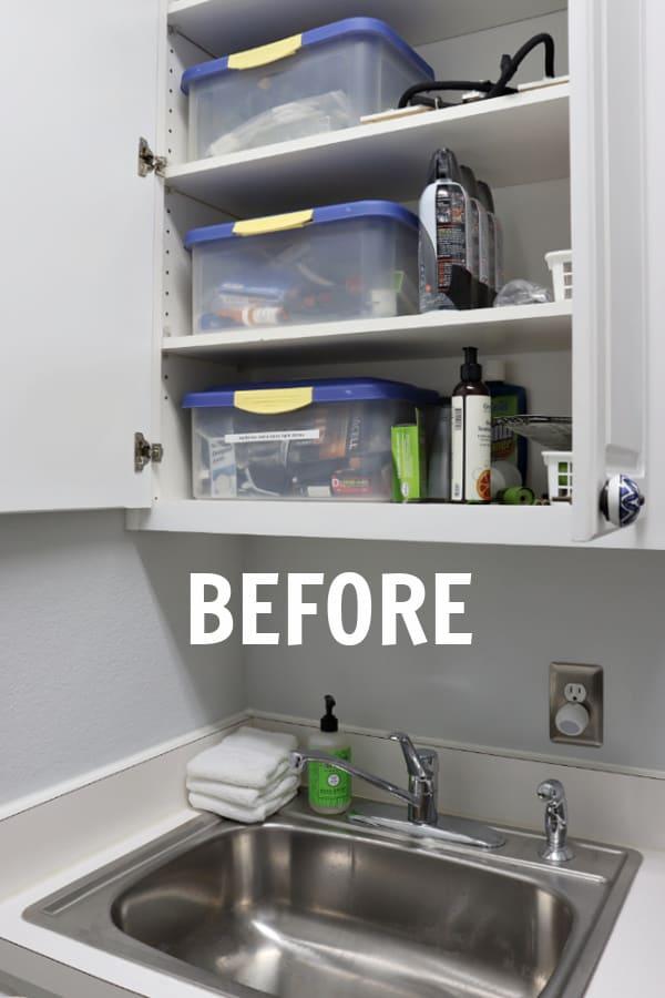 Disorderly Laundry Room Shelves