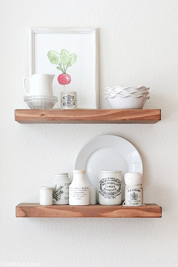 Easy Ways To Style Floating Shelves With An Ironstone.