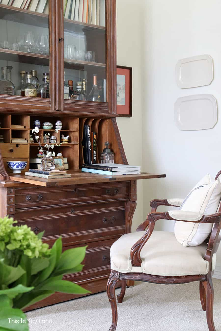 Secretary desk with a French chair. Organizing Napkins And Linens.
