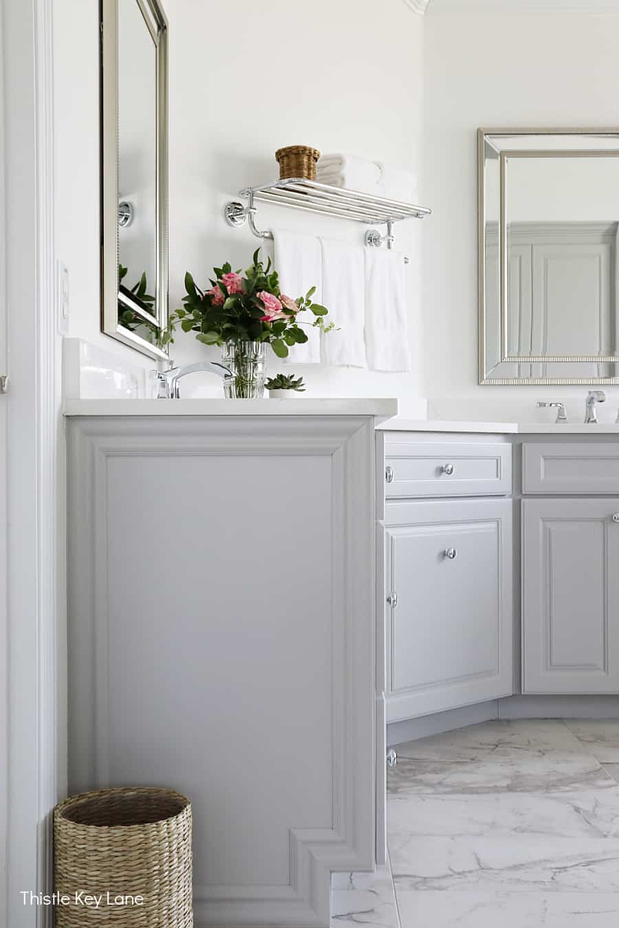Side view of bathroom cabinet with pretty details. White And Gray Bathroom Makeover.