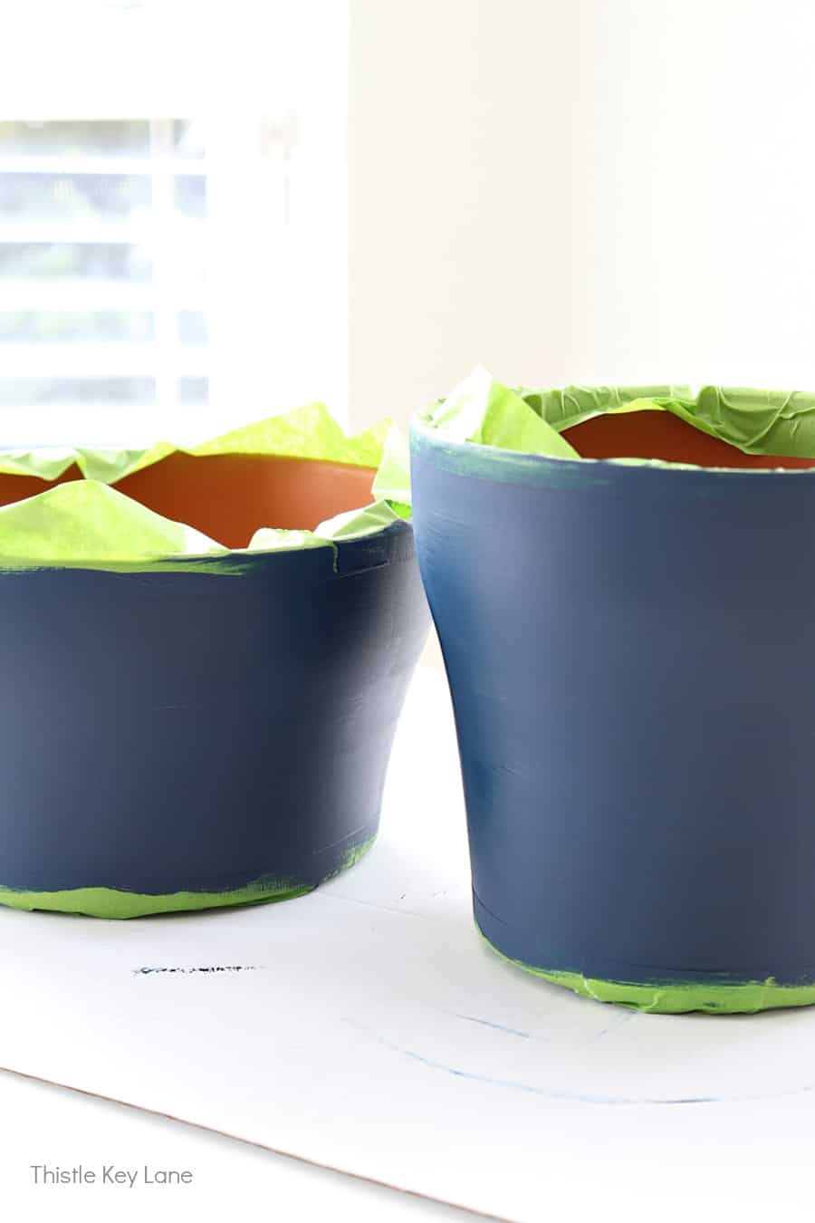 Paint terracotta pots a solid color navy.