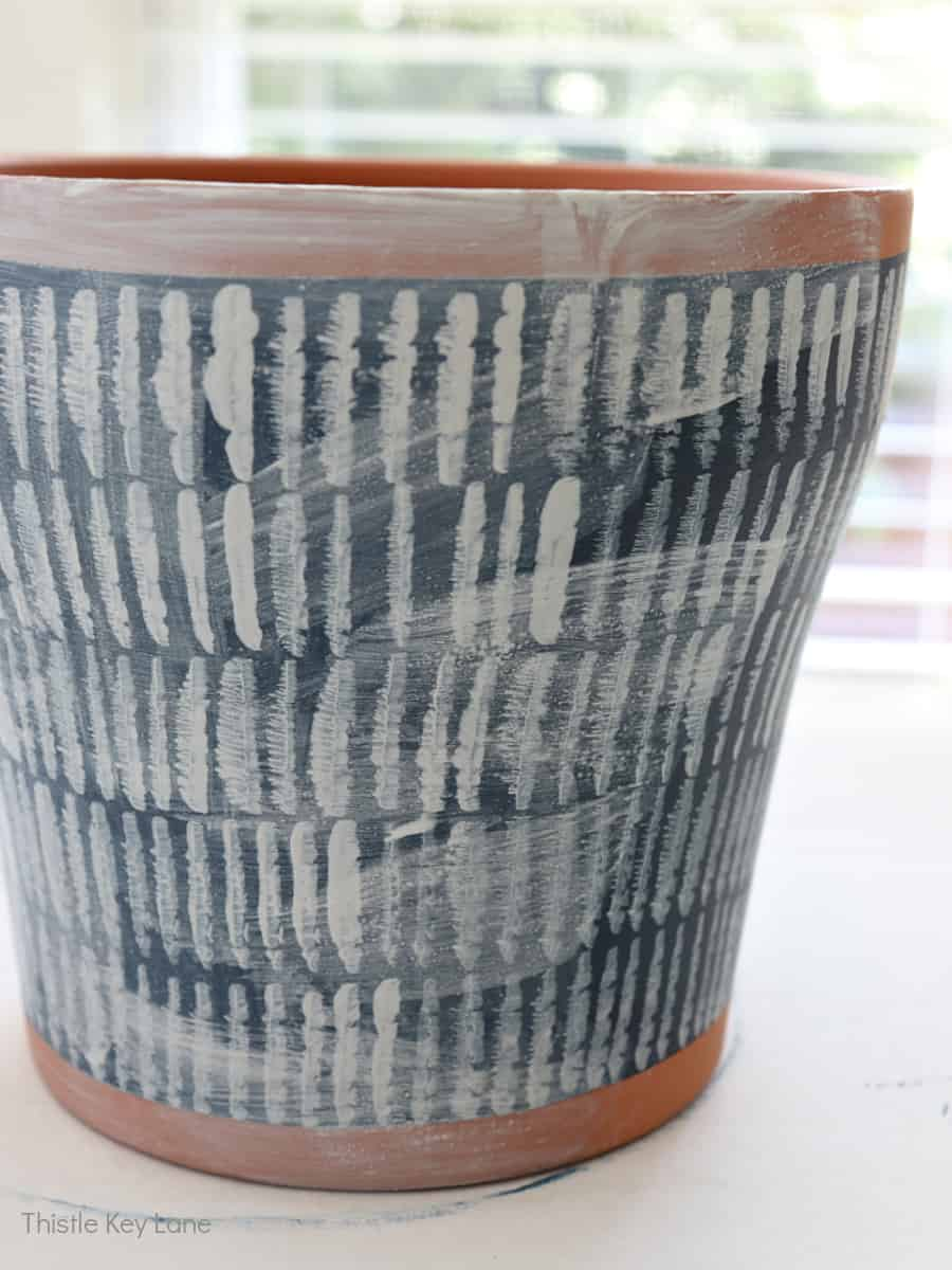 White wash over hand painted lines. How To Hand Paint A Cachepot.