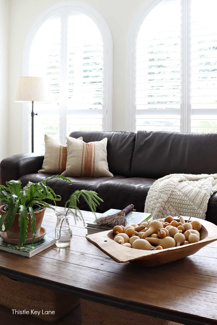 Fall coffee table with brown leather sofa.
