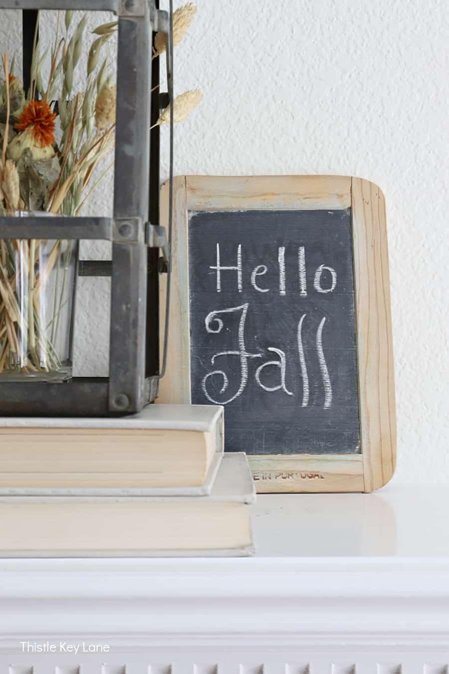 Hello Fall slate board sign.