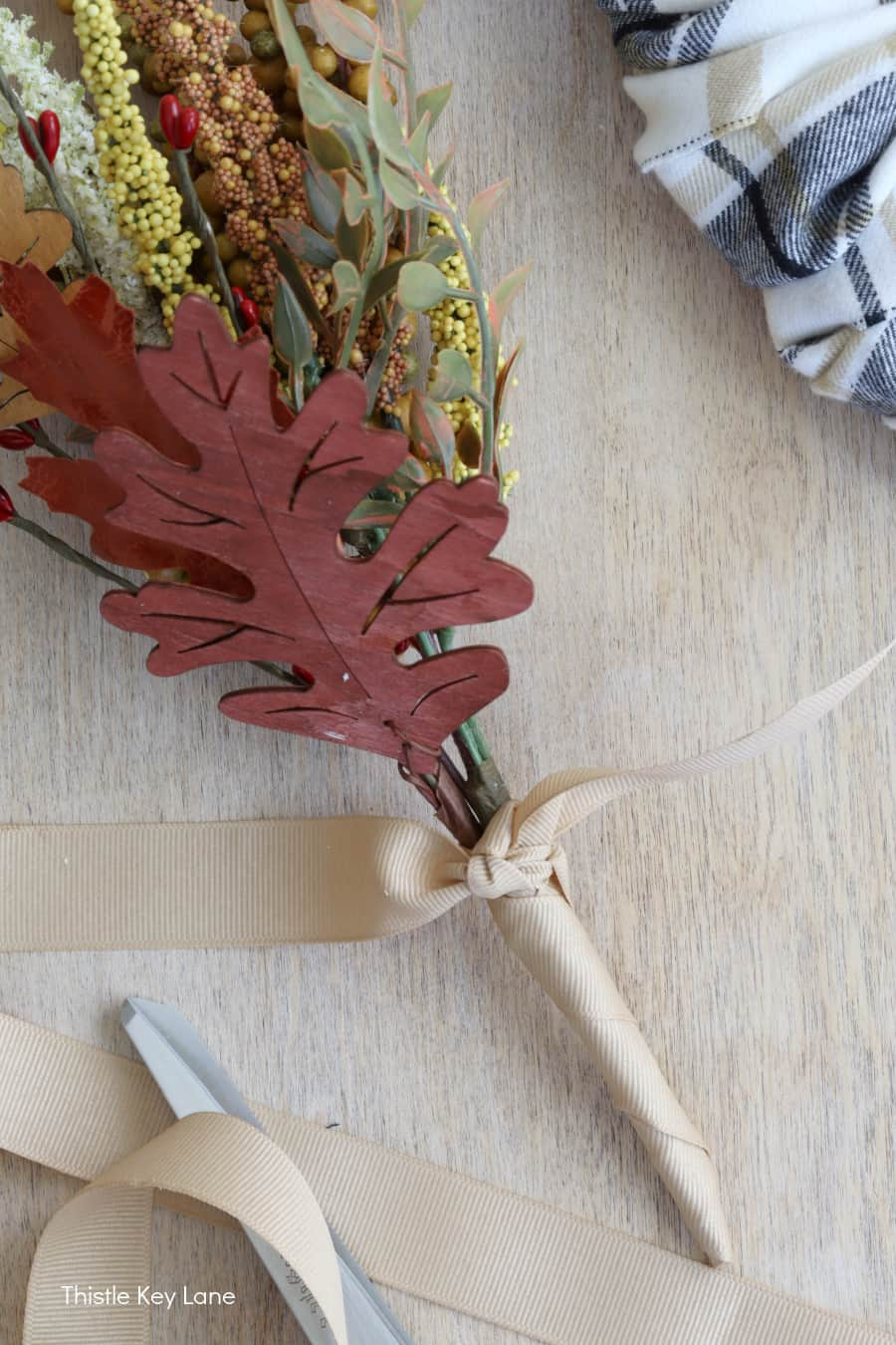 Fall picks tied together with ribbon.