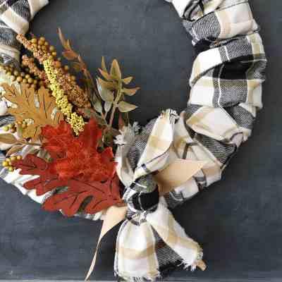 DIY Plaid Fall Wreath With Autumn Colors