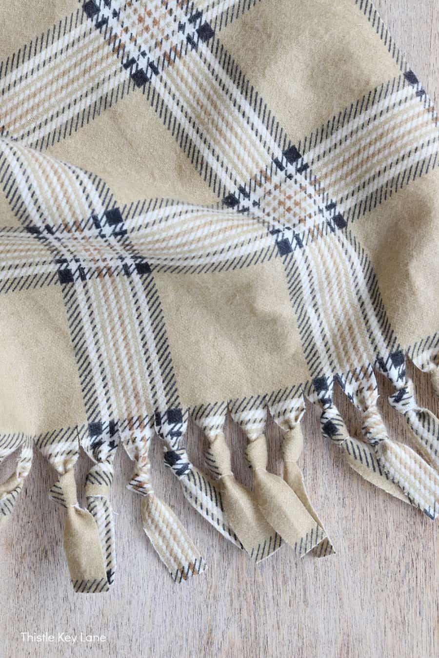 Knotted fringe on plaid fabric.