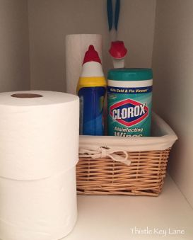 Stash cleaning products in basket for quick clean ups