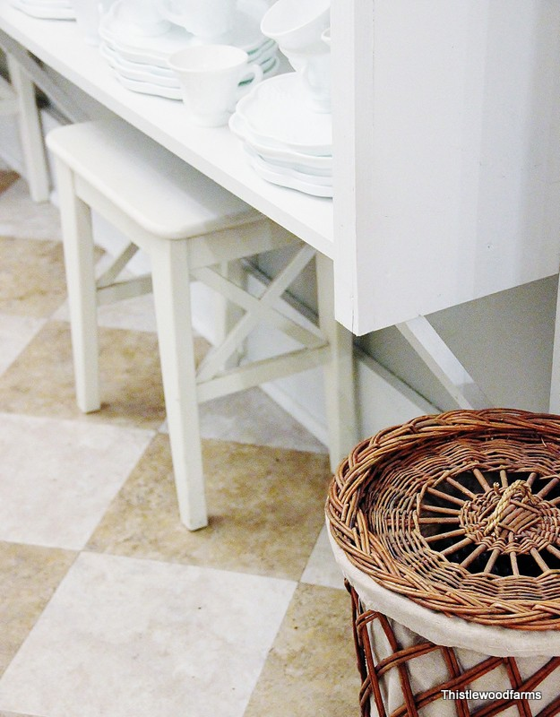 White dishes in the butler's pantry