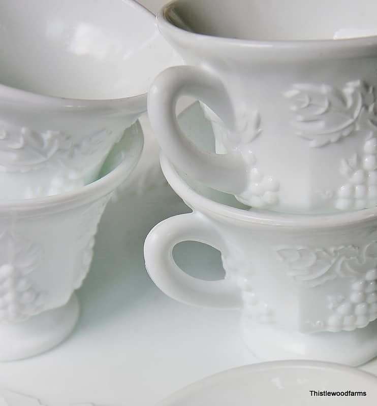 Up close look at the white dishes