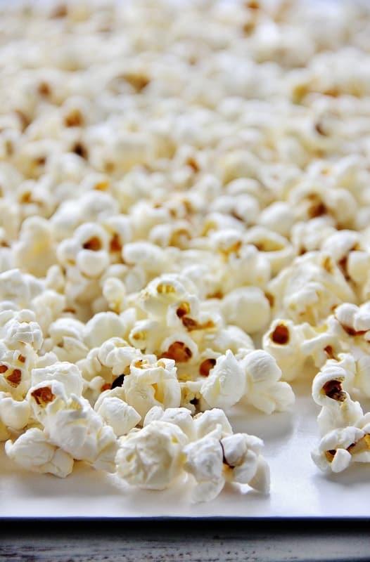 Popcorn on cookie sheet