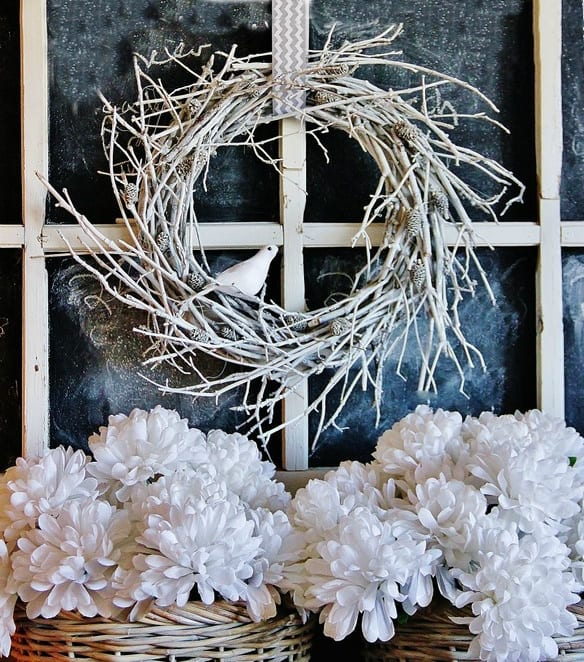 This white twig wreath is the perfect winter decoration for your home.
