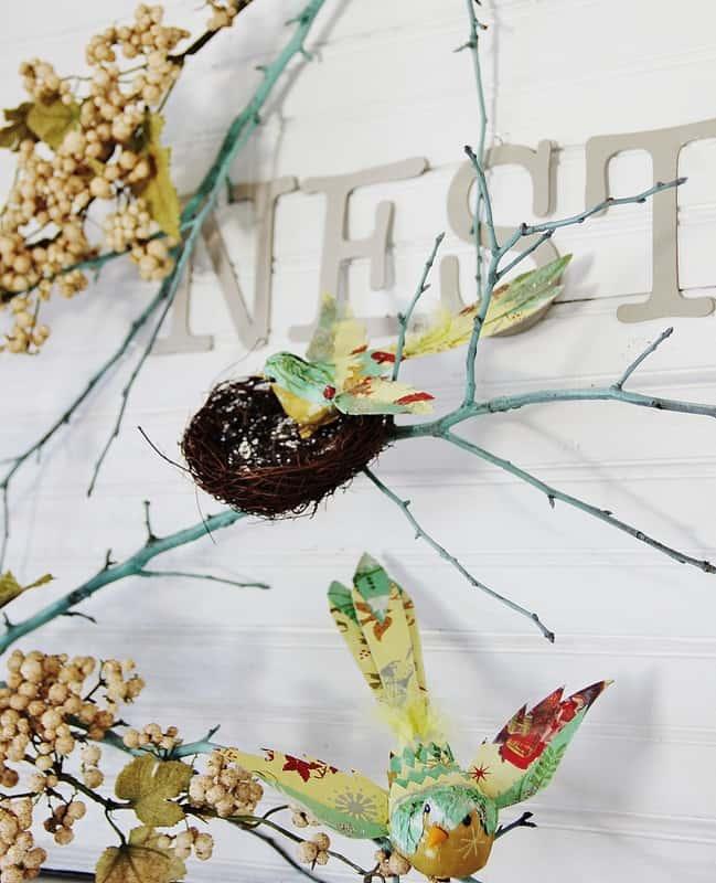 Bird Nest Spring Mantel