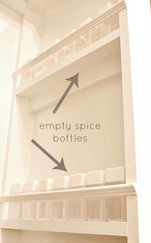 This built in spice rack holds so many bottles