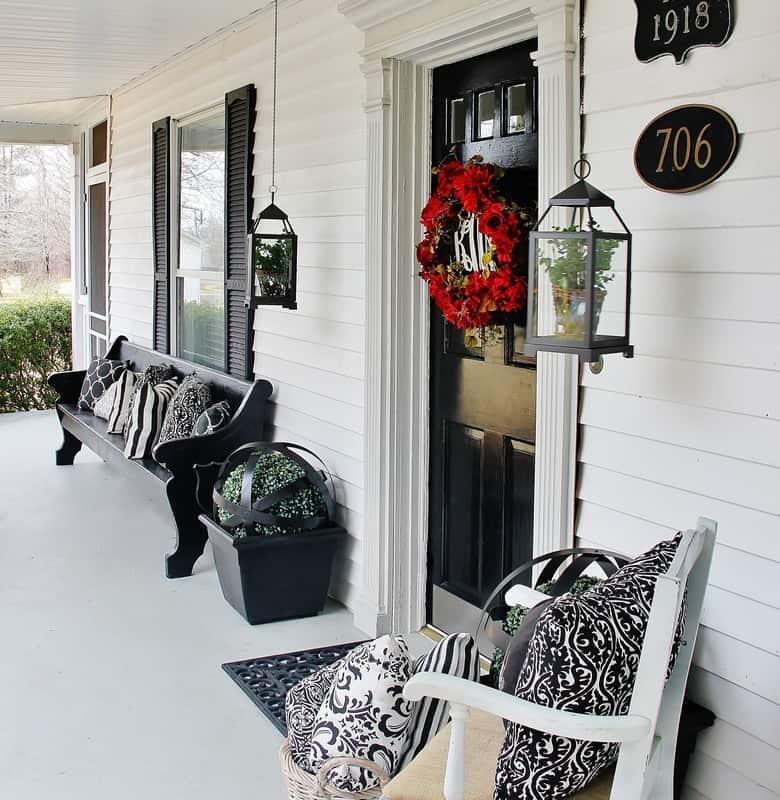 Black and White Farmhouse Porch Thistlewood