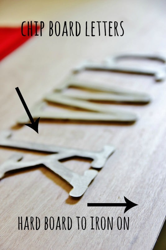 Gather your necessary supplies, chip board letters and a hard board to iron on.