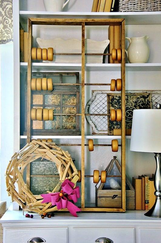 fall decor with bookshelves