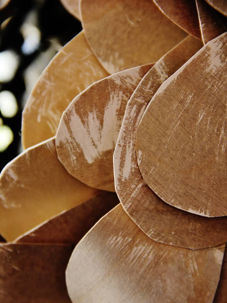 Detail of the birch bark pieces for the wreath