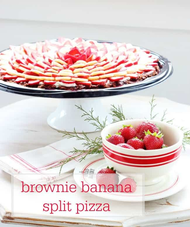 Brownie Banana Split Pizza holiday recipe