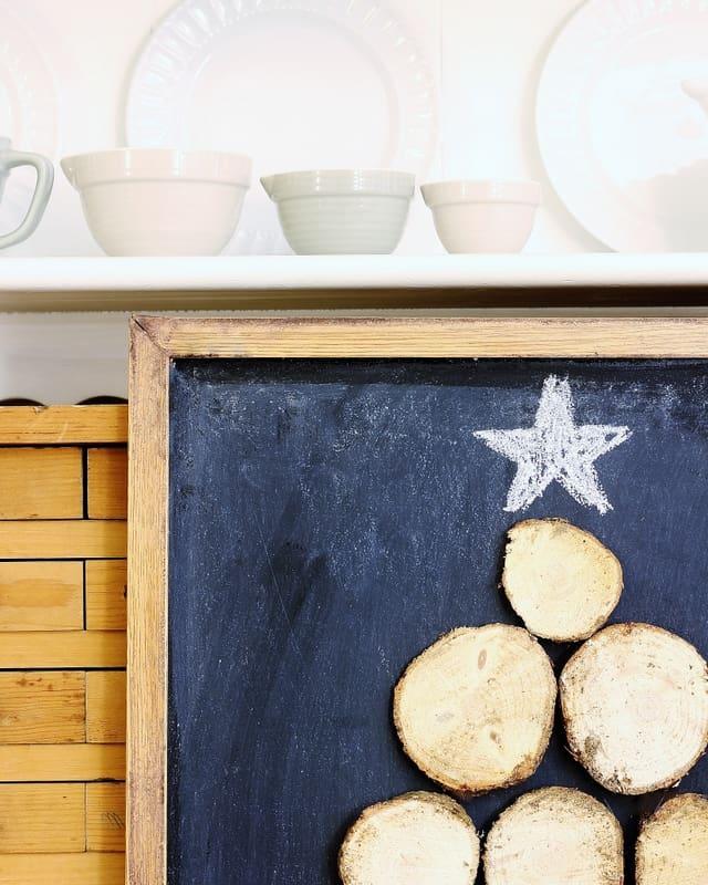 Wood Slice Christmas Tree Chalkboard