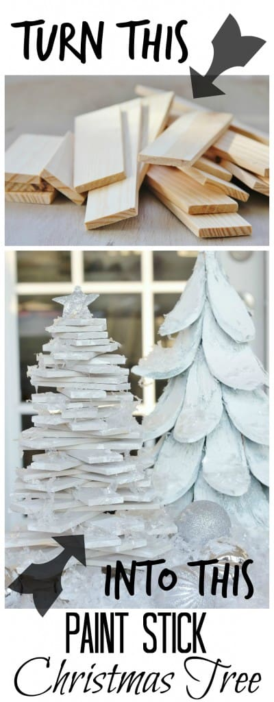 turn paint sticks into a Christmas tree