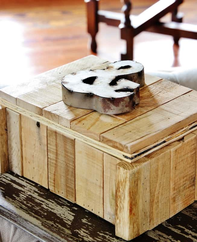wooden box with metal ampersand
