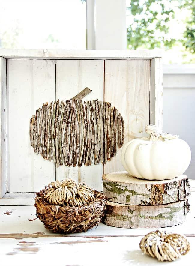 wood stick pumpkin project