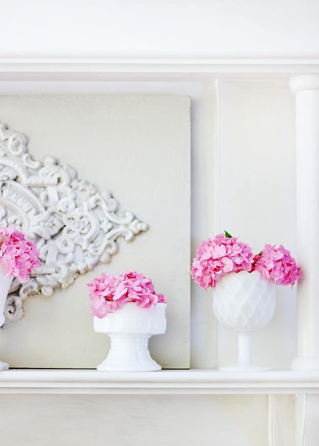 I opted to display the hydrangea in white against the white mantel
