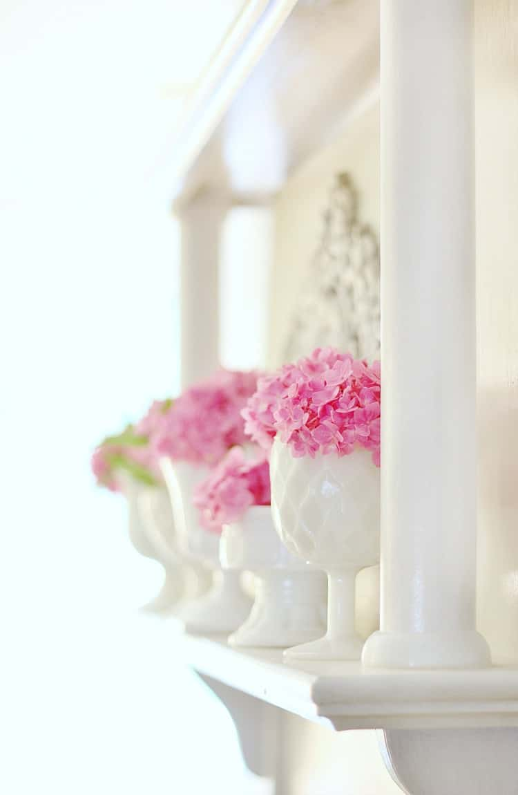 spring mantel ideas hydrangeas