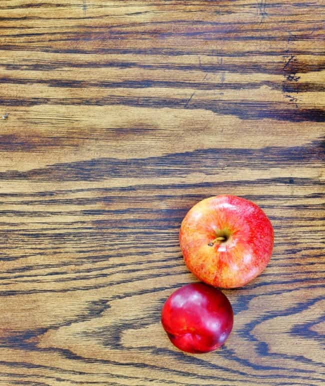 wood and apple and plum