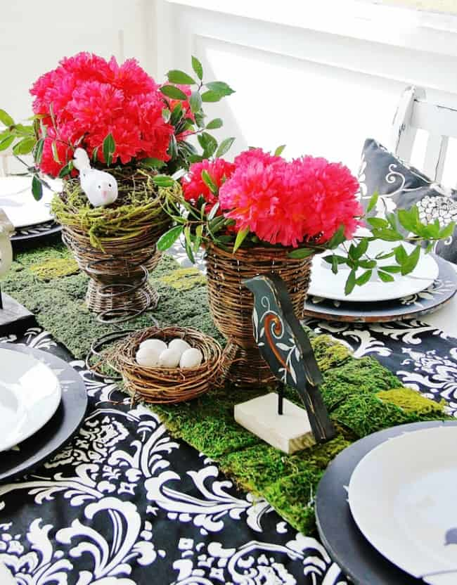 how decorate for spring moss runner