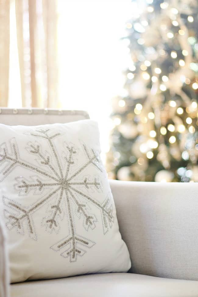Gorgeous snowflake throw pillow on the chair