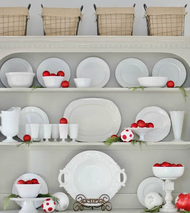 red and white Christmas hutch