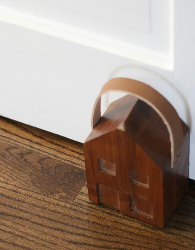 Wooden house door stop