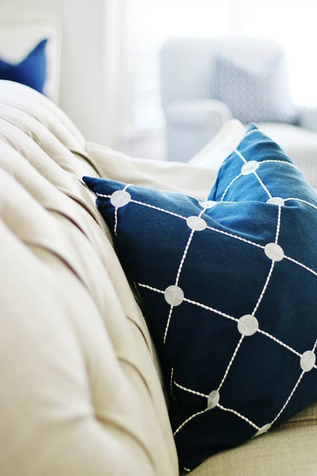 blue and white decor pillows