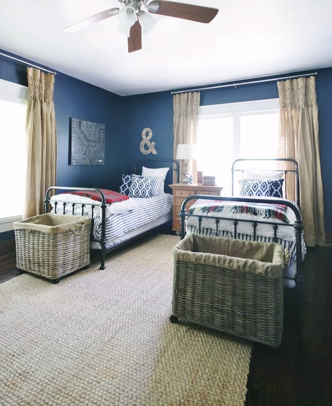 The navy bedroom, after being painted navy bedroom inspiration