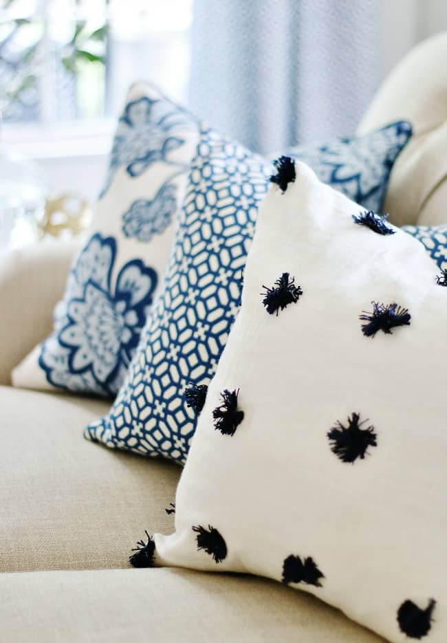 the best advice blue and white pillows